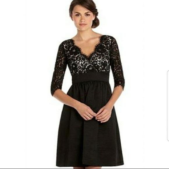 Eliza J Lace & Faille Dress NWT Black Fit Flare 4P
